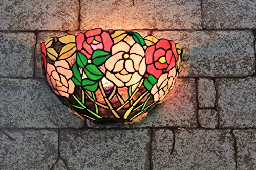 (ETERN 12-inch Vintage Pastoral Stained Glass Rich Peony Flowers Wall Lamp Hallway Wall Sconce Lamp Fixture)