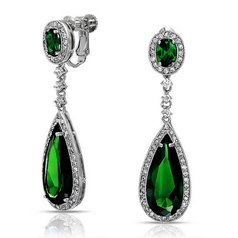 Bling Jewelry Pave Simulated Emerald CZ Teardrop Chandelier Clip On Earrings Rhodium Plated Brass MY-BME80822GC