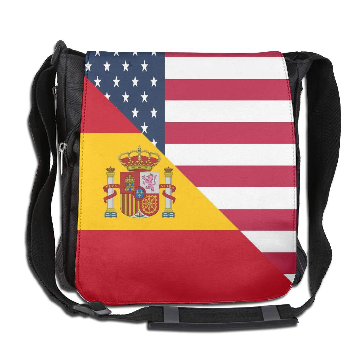 Unisex Casual Satchel Messenger Bags American And Spain Flag Crossbody Shoulder Bag Hiking Bags For School//Work//Trips