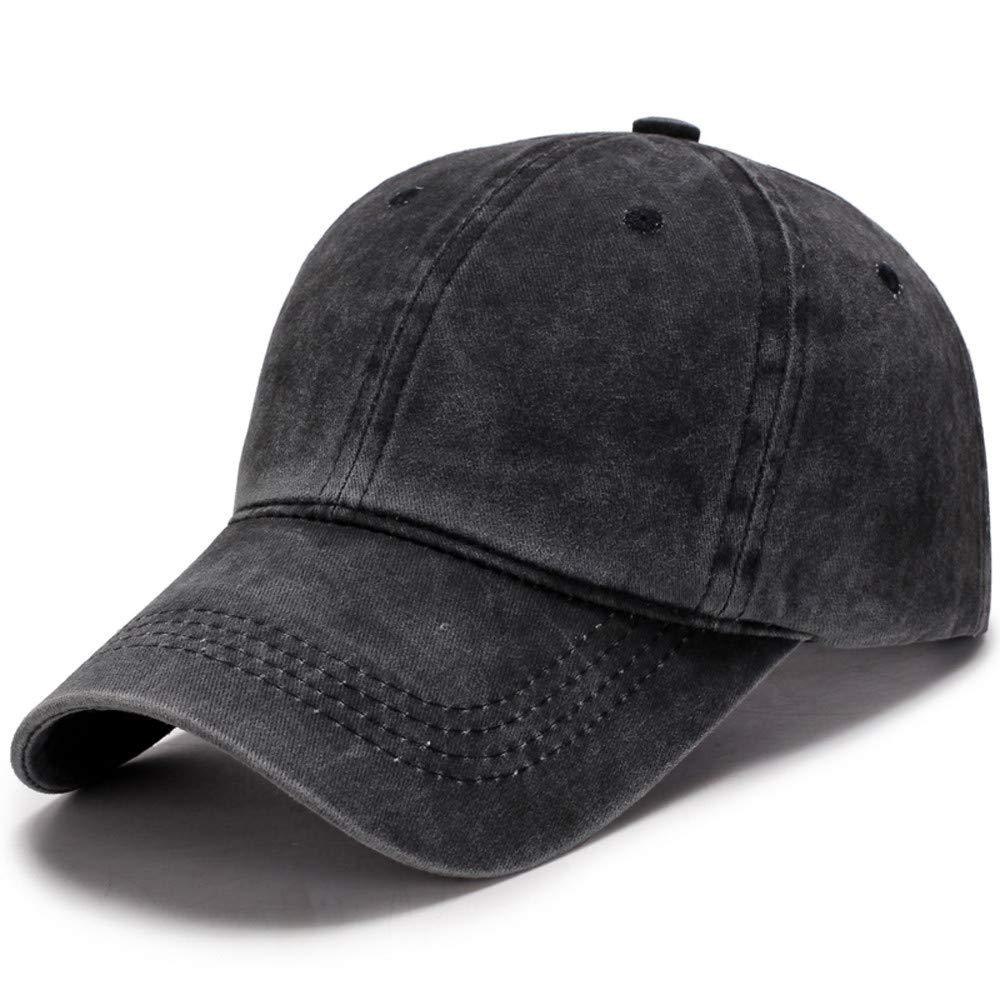 Men Plain Washed Cap Style Cotton Adjustable Baseball Cap Blank Solid Hat