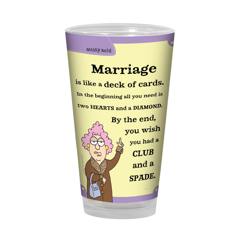 Tree-Free Greetings PG02817 Aunty Acid Artful Alehouse Pint Glass, 16-Ounce, Marriage Cards