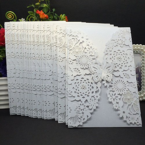 Wedding Plate Invitation (Delicate Carved Butterlies Romantic Wedding Party Invitation Card Envelope Invitations for Wedding/Business/Party/Birthday 20Pcs # White)