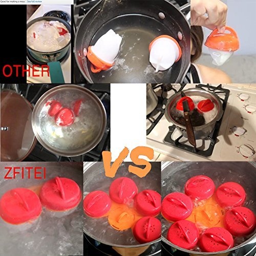 ZFITEI Upgrade Version Egg Cooker holder Egg Cooker 6pack,Pls watch Real test video, Boiled Eggs No shell,hard&Soft Maker,BPA Free,Non Stick Silicone,Apply to Poacher, Boiled, Steamer by ZFITEI (Image #2)