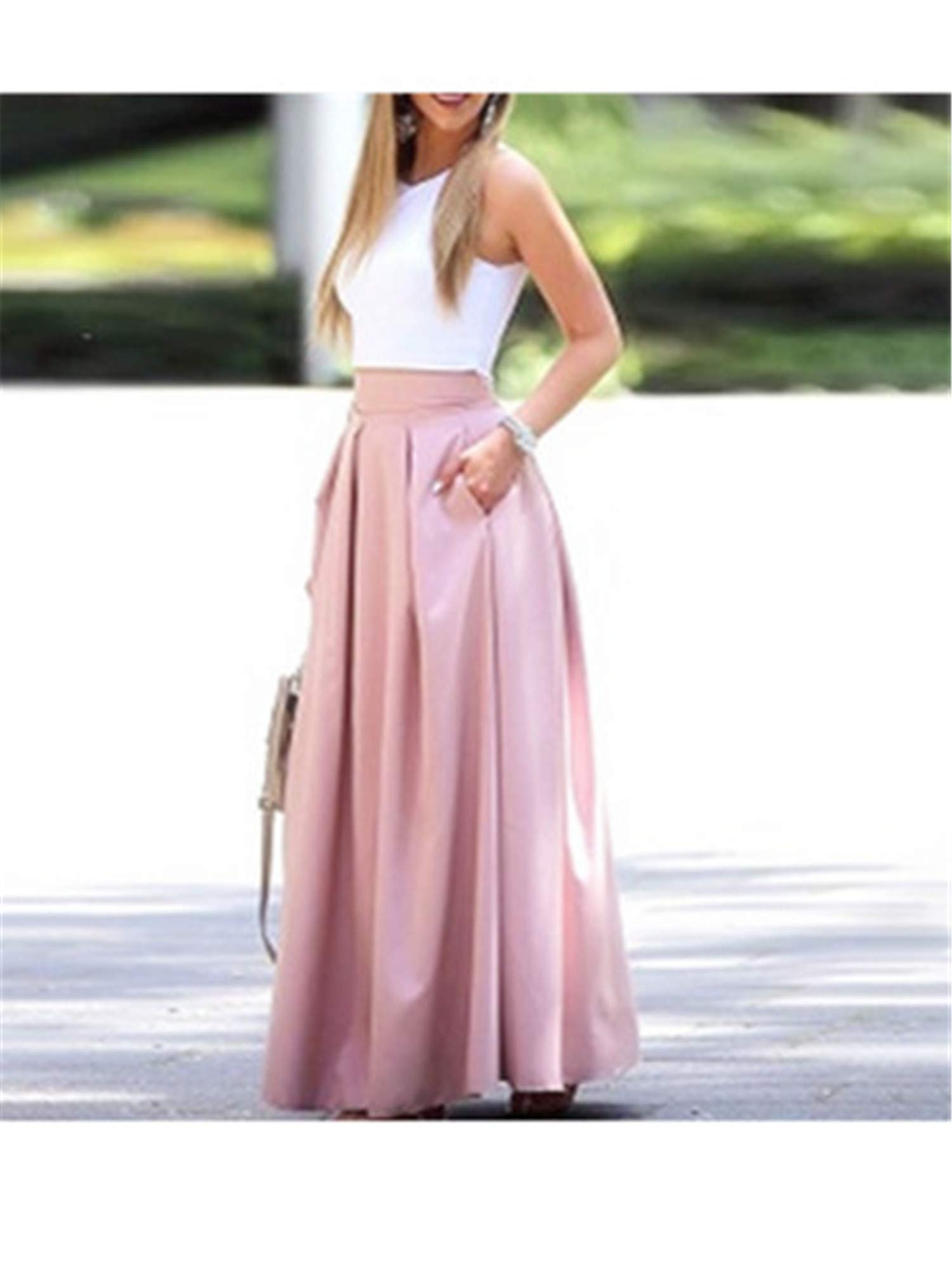 Women Two-Piece Suit Set Female Sleeveless Cropped Top & Pleated Maxi Skirt Sets