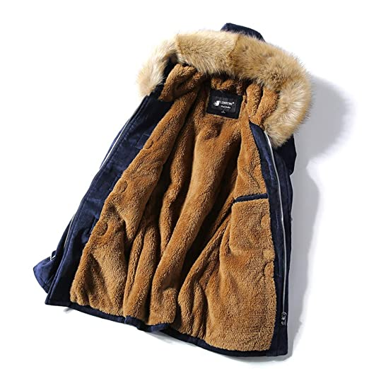 LILICAT Hombres Invierno Cálida Piel De Terciopelo Cuernos Hebilla Cuello De Piel Botón Camisa Gruesa Capa Chaqueta Camisa: Amazon.es: Hogar
