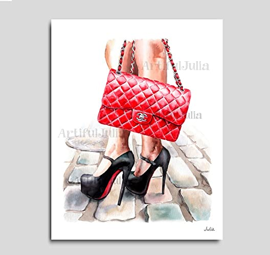 7d3144e1e47 Amazon.com: Christian Louboutin art print of watercolor painting ...