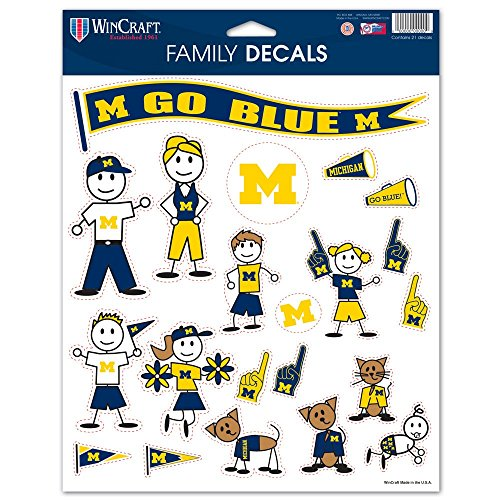 NCAA Michigan Wolverines Family Decal Sheet, 8.5 x 11-inches