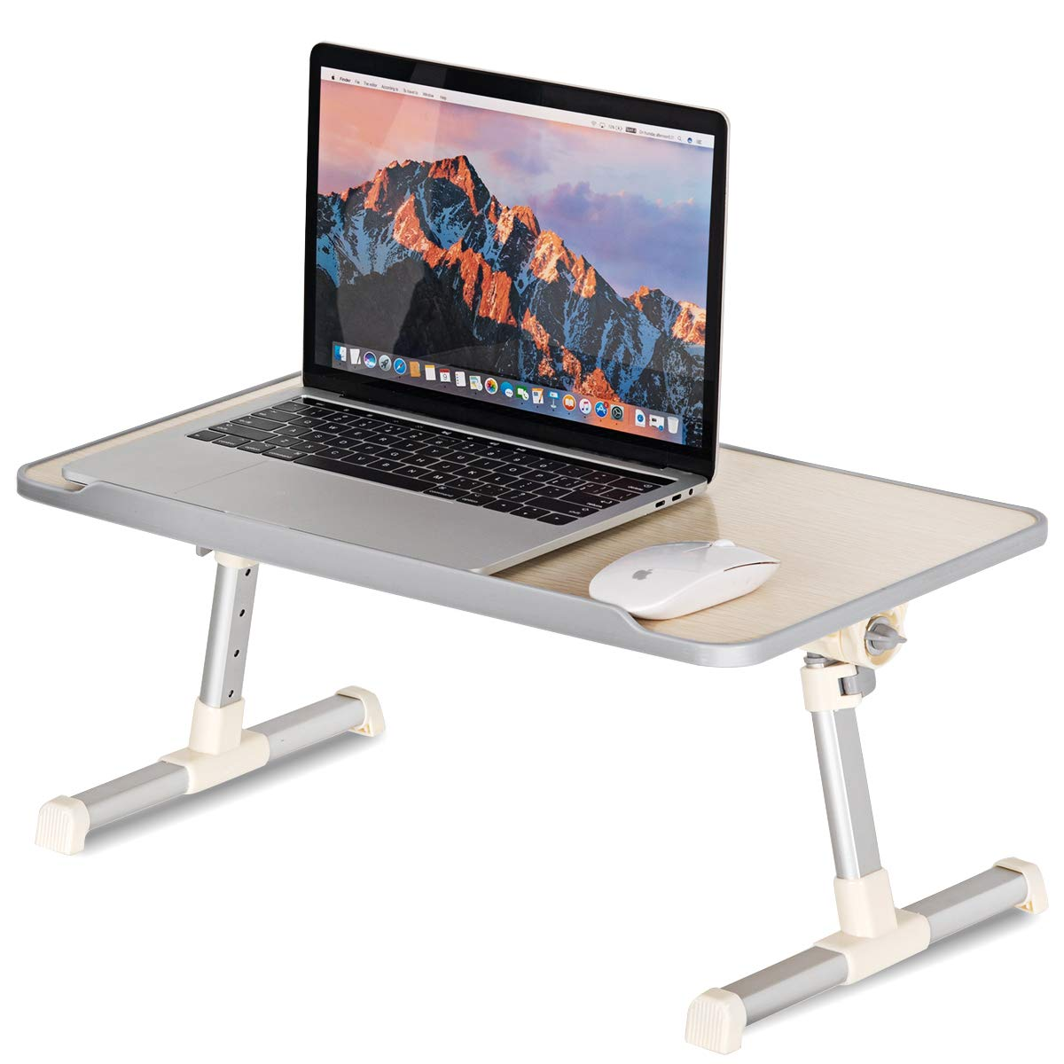 Tangkula Bed Table Adjustable Laptop Table, Portable Standing Bed Desk with Built-in Fan Foldable Legs, Notebook Stand Reading Holder for Couch & Floor Sofa Breakfast Tray, Computer Riser