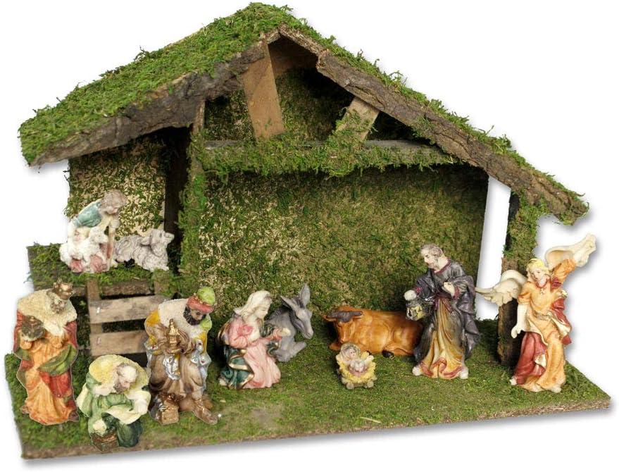 Vetrineinrete® - Caseta de Madera para Navidad con almizcle Belén con Escalera con Natividad, Figuras de Reyes Magos pastores, 10 Unidades, decoración navideña 47053 A65: Amazon.es: Hogar