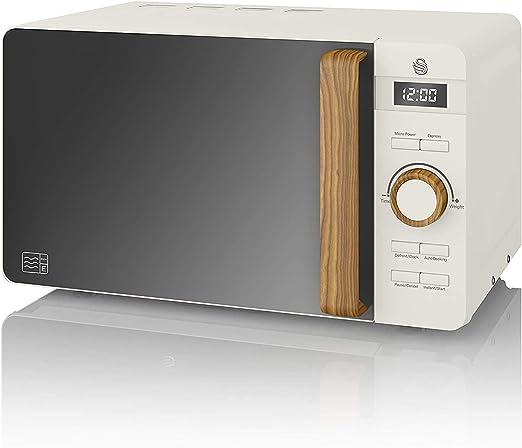 Swan Nordic Microondas digital 20L, 6 niveles funcionamiento, 800W potencia, temporizador 30 min, fácil limpieza, modo descongelar, diseño moderno, tirador efecto madera, blanco mate: Amazon.es: Grandes electrodomésticos
