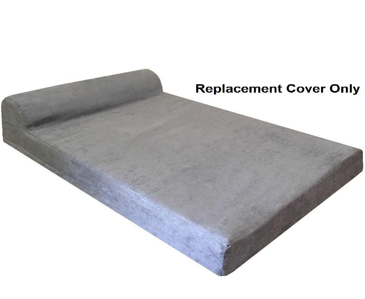 Dogbed4less HeadRest Dog Pet Bed Micro suede External Cover - Replacement cover only - XL 47''X29''X4'' Size - Gray