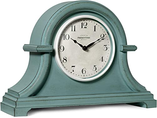PresenTime Co Vintage Farmhouse Table Clock Series Napoleon Mantel Clock,13 x 10 inch, Domed Lens, Quartz Movement, Aged Teal Color