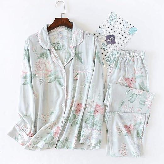 Pijamas de Mujer Pijamas Suaves Florales Algodón Estilo Simple ...