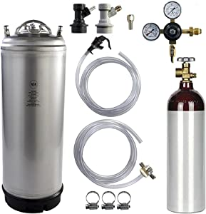 Keg Kit - 5 Gallon Ball Lock Keg, 22 cuft Aluminum Nitrogen Cylinder, Regulator, and All Accessories