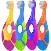 Uooker 4Pcs Farber Baby & Toddler Toothbrush for 0-2 Years Old, Teething Finger Handle BPA Free with Baby Toothpaste Indicator, Extra Soft Bristles, Infant Toothbrush Teether (Random Color)