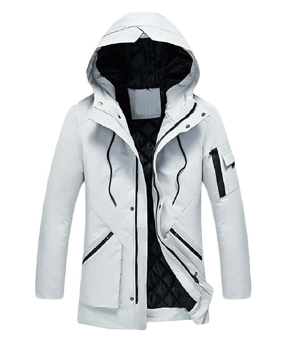 Abetteric Men Windproof Hooded Zip Thick Casual Pocket Outwear Quilted Jacket