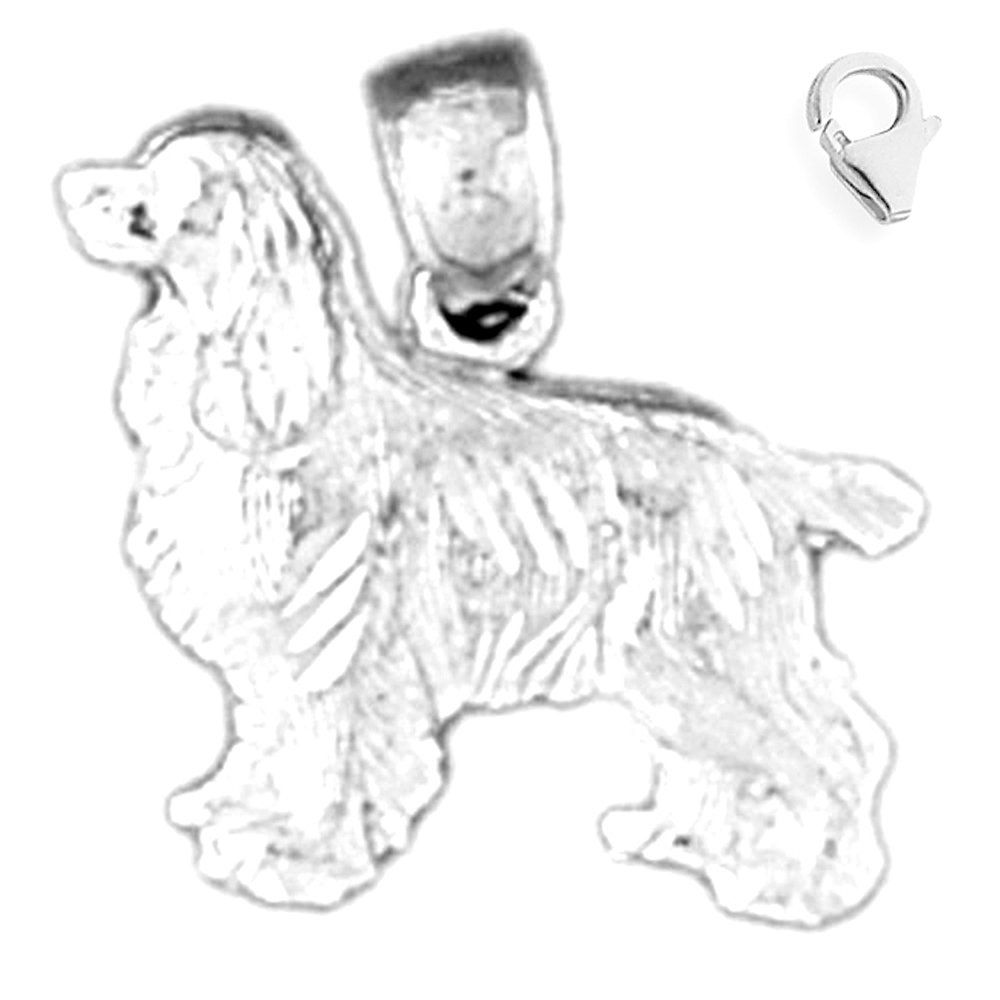Jewels Obsession Dog Pendant Sterling Silver 16mm Dog with 7.5 Charm Bracelet