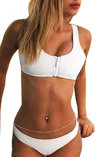 0adf13fc4e81ac Amazon.com  MERCHAM Bikini Sets Bathing Suit for Women Padded Zipper Front  Cropped Top Cheeky Bikini Bottom White L  Clothing