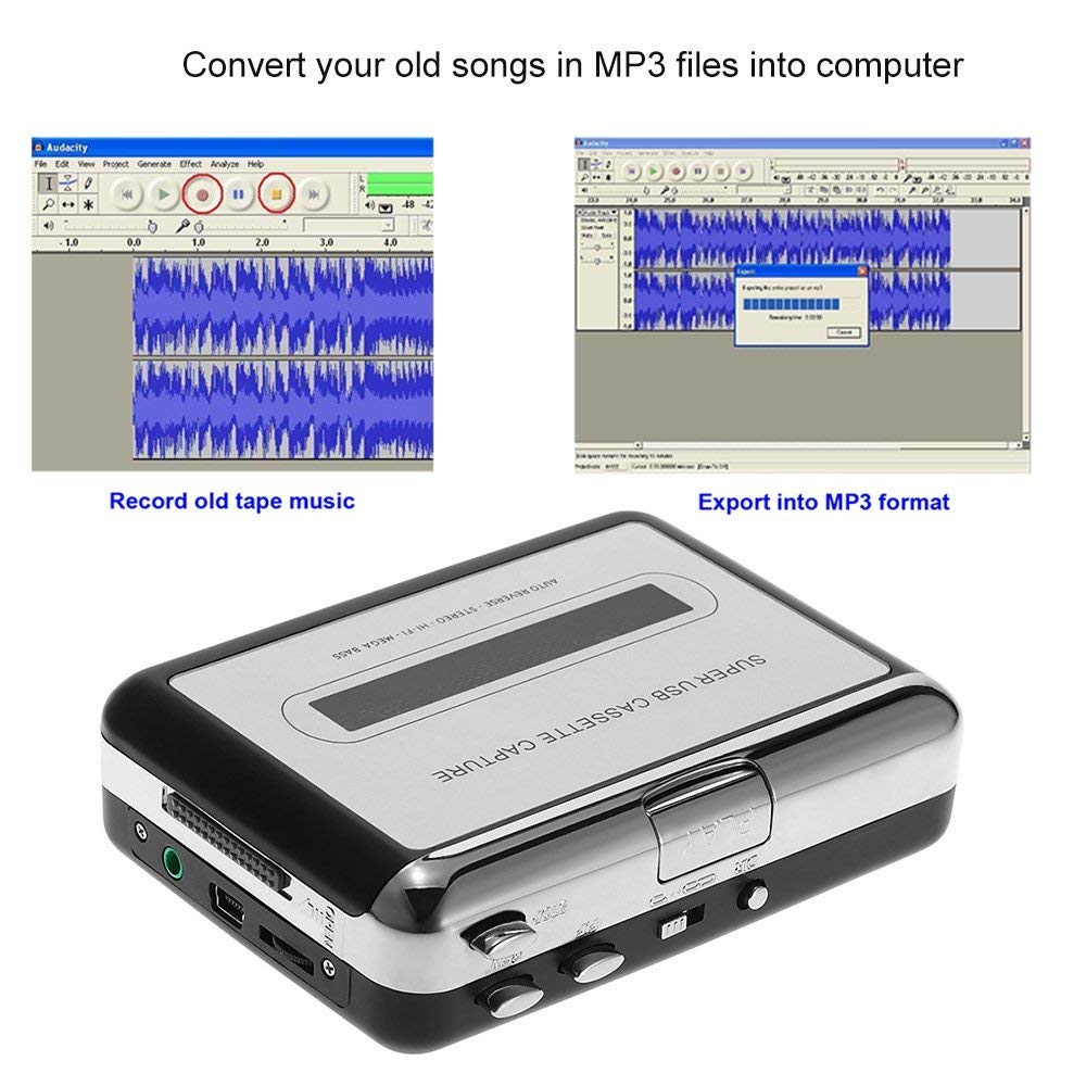 Semoic Portable Cassette Player Portable Tape Player Captures Cassette Recorder via USB Compatible with laptops and PC Convert Tape Cassettes to iPod MP3 CD Format with Headphones