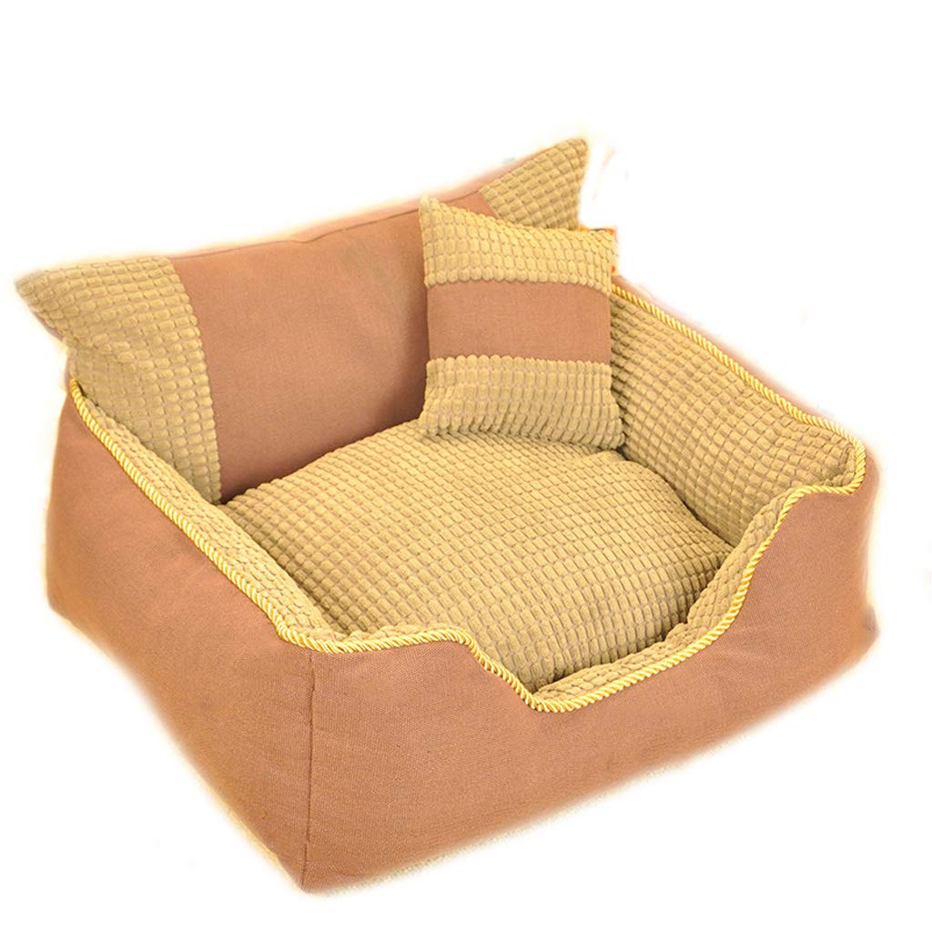 Brown BTPDIAN Four Seasons Universal Kennel cat Litter pet nest Autumn and Winter Warm cat Dog Bed Teddy Law Fighting gold Hair Removable pet Bed Breathable pet nest (color   orange)