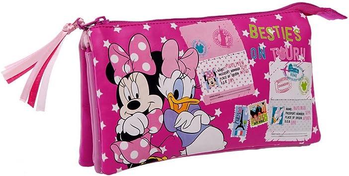 Disney Minnie y Daisy Estuche de Tres Compartimentos, Color Rosa: Amazon.es: Equipaje