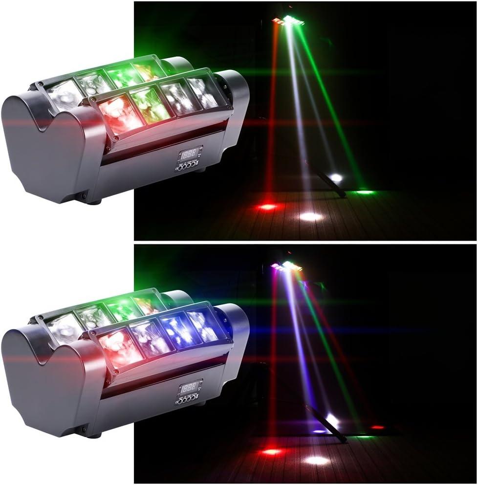 Uking 60W Cabeza Móvil,RGBW(4 en 1) 8 LEDs DMX512 Luz de discoteca Iluminación de escenario Lámpara de escena Comando de voz para DJ Partido Fiesta Bar Club Escenario Teatro (60W(2pcs))