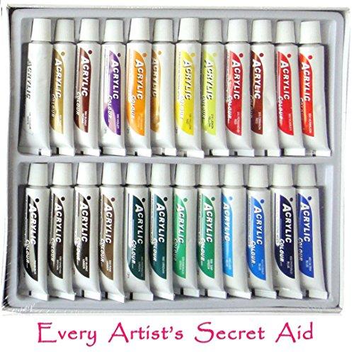 Daveliou Acrylic Paint Set - 24 Non-Toxic Acrylic Paints 12ml - Vivid Colors
