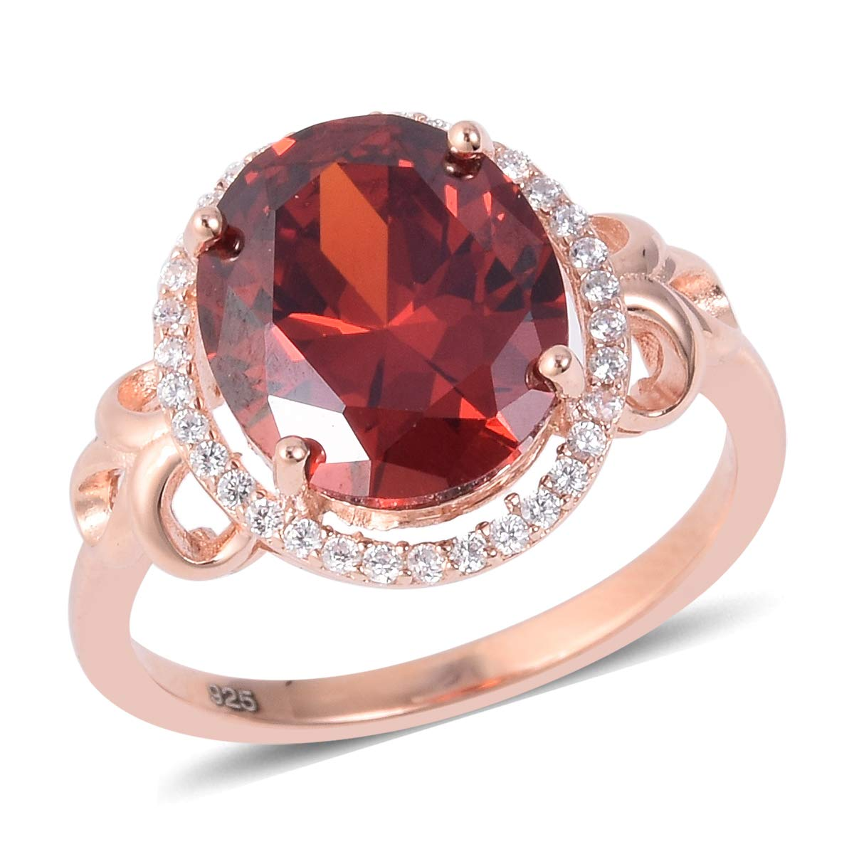 Rose Gold Plated 925 Sterling Silver Halo Ring Red and White Cubic Zirconia CZ Jewelry for Women Ct 5.1