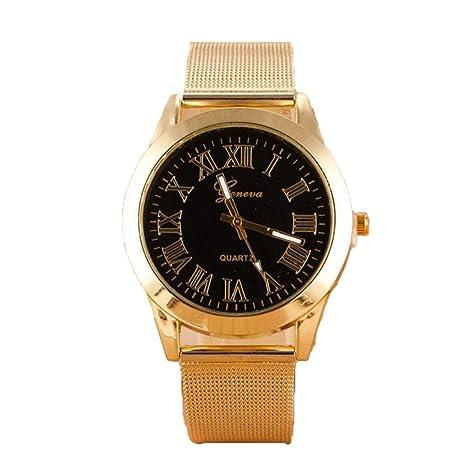 Xinantime Relojes Hombre,Xinan Reloj de Acero Inoxidable de Cuarzo Romana del Oro (Negro