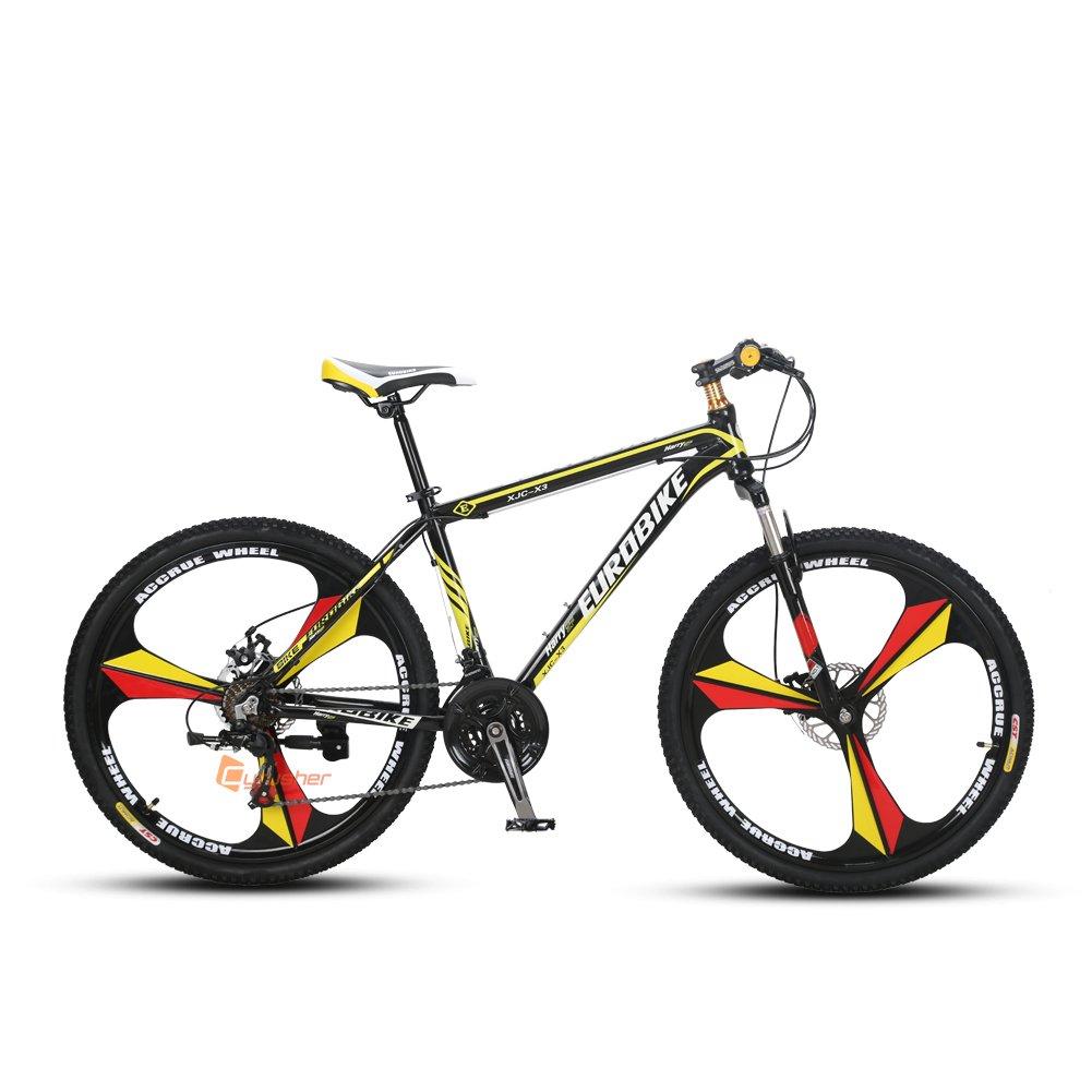 Cyrusher X3 MTB 自転車 シマノ26インチ マウンテンバイク [ シマノラピットファイヤー21段変速 / アルミフレーム / 前後ディスクブレーキ ] B01N9U6EL2イエロー