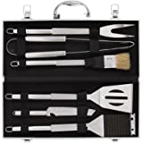 Dazone Grill Set - 6-Piece BBQ Tools - Stainless-Steel Barbecue Grilling Utensils - Premium Grilling Accessories for Kbabe & Other Barbecue Grill - Spatula/Tongs/Fork/Knife/Basting Brush/Grill Brush