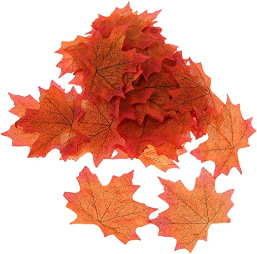 100Pcs Artificial Fall Silk Leaves Autumn Maple Leaf Wedding Party Decoration