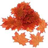 100x Foglia D'acero Artificiale Autunno Cadono Le Foglie Di Nozze Decorazione Del Giardino - Arancione