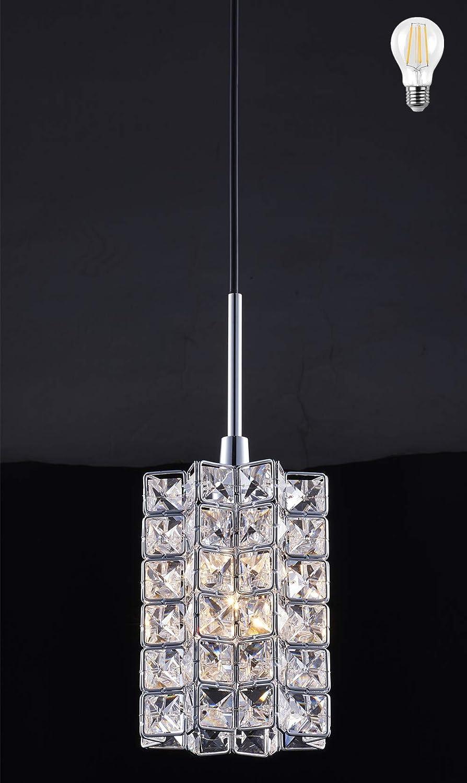 Smart Lighting-Shupregu 1-light pendant lighting, Crystal mini pendant light fixtures,Chrome finish crystal pendant lamp, for Kitchen Island, Dining room, Cafe,Bar, LED bulb Included