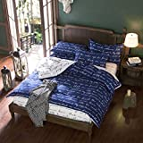 Vivona 3 Or 4pcs Polyester Fiber Blue Letters Reactive Dyeing Bedding Sets Twin Full Queen Size - (Size: Queen Size)