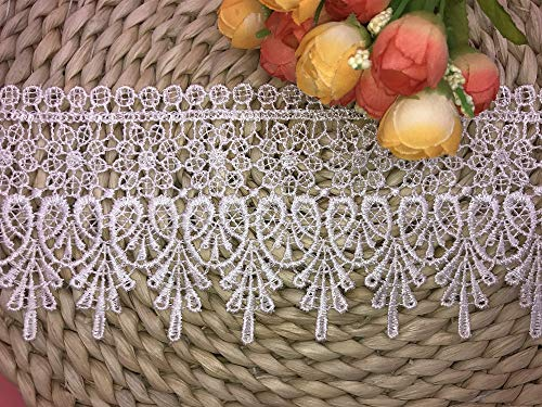 9CM Width Europe Chips Pattern Inelastic Embroidery Lace Trim,Curtain Tablecloth Slipcover Bridal DIY Clothing/Accessories.(2 Yards in one Package) (White)