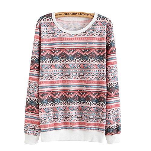 DaBag Felpe da Donna Ragazza Maglia Stampa Animalier Maglione Azteco Sweater Manica Lunga Top T-shirt a Righe Pullover s25