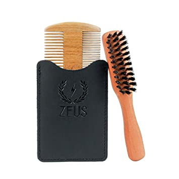 67523d410451 ZEUS Brush and Comb Set for Beards - Boar's Hair Brush with Extended Handle  + Sandalwood...