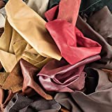 """Leather Scraps Upholstery Leather (5 LB) & 1""""Genuine Snakeskin"""" Pieces"""