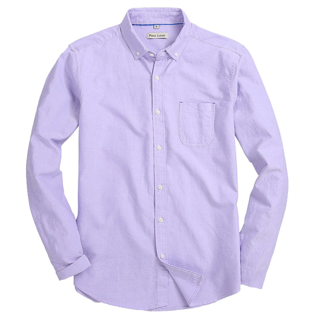 Piero Lusso Men's Long Sleeve Shirt Regular Fit Solid Color Oxford Casual Button Down Dress Shirt Light Purple Medium