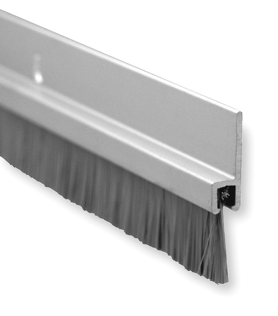 Pemko Brush Door Bottom Sweep, Clear Anodized Aluminum with 0.625' Gray Nylon Brush insert, 0.25' Width, 1.375' H x 48' L Clear Anodized Aluminum with 0.625 Gray Nylon Brush insert 0.25 Width 1.375 H x 48 L Pemko Manufacturing Company Inc. 18061CNB48