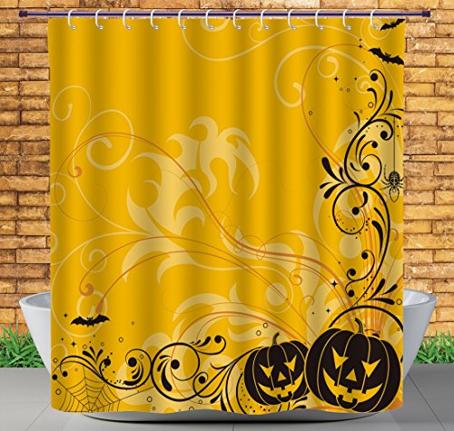 iPrint Cool Shower Curtain by, Halloween Decorations,Carved Pumpkins With Floral Patterns Bats And Spider Web Horror Themed Artwork,Orange Black,Heavy-duty Fabric Shower Curtains -