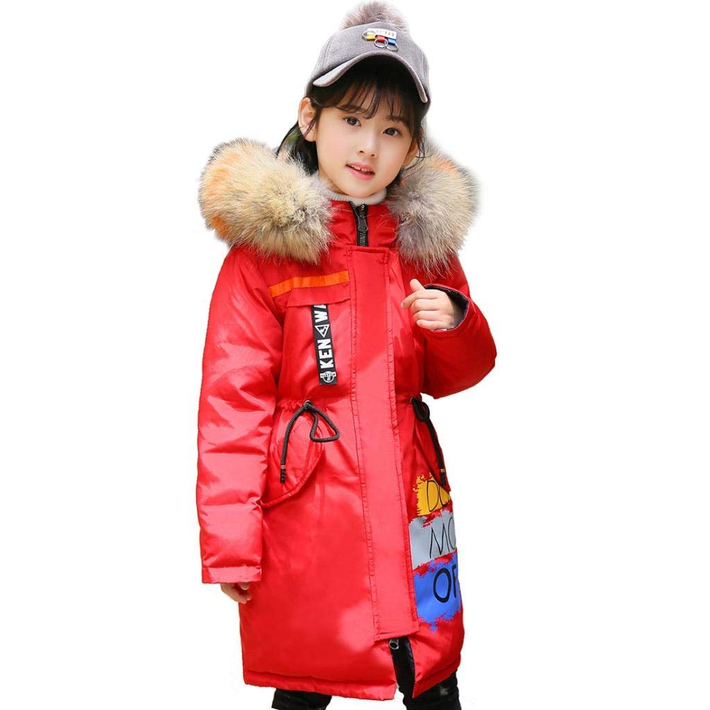 Girls Long Down Jackets Fur Hooded Winter Warm Puffer Coats Reversible
