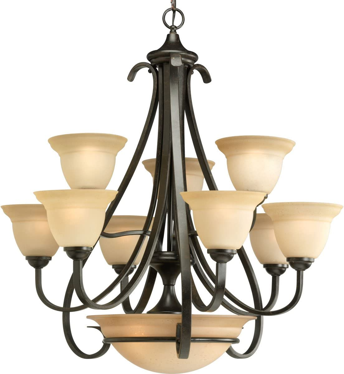 Progress Lighting P4418-77 9-Light Two-Tier Torino Chandelier, 32 x 32 x 33 , Forged Bronze