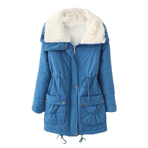 Bestfort Warm Fleece Mantel Damen Komfort Wolle Jacke Wintermantel für Outdoor Winter Herbst der Kragen Freizeit Slim Fit Trenchcoat