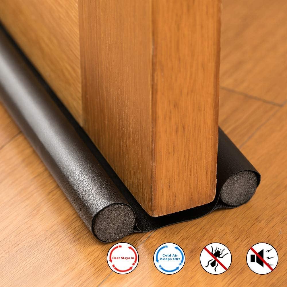 BesPart - Tapón para puerta o ventana de poliuretano para puerta o ventana, doble protección para puerta a prueba de ruido, reduce el ruido y bloqueador de corrientes de puerta, color negro:
