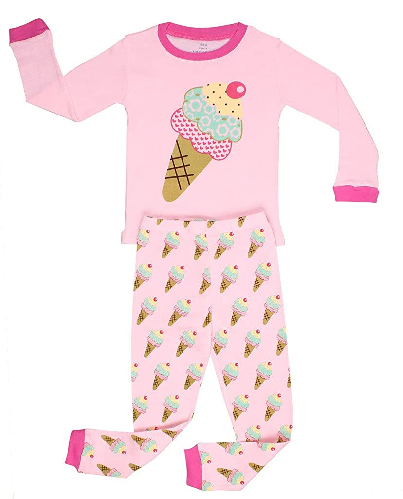 6M-8Y Elowel Girls Butterfly 2 Piece Pajama Set 100/% Cotton