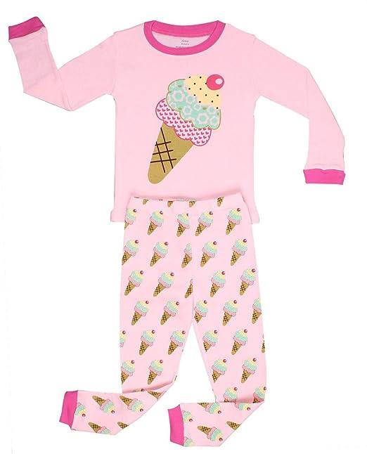 bd2922172 Amazon.com  Elowel Little Girls Ice Cream 2 Piece Pajama Set 100 ...