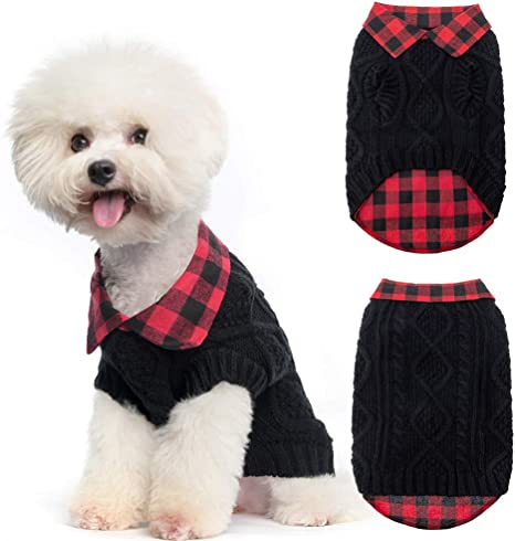 Fit for Small Medium Large Dogs SCENEREAL Warm Dog Sweater Plaid Patchwork Pet Doggy Knitted Sweaters Comfortable Clothes for Winter Cold Weather