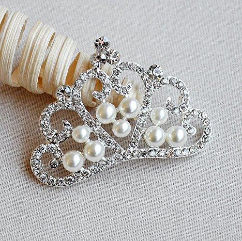 5 Rhinestone Button Embellishment Crystal Pearl TIARA CROWN Bridal Wedding Brooch Bouquet Invitation Hair Comb Headband BT569